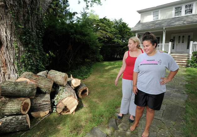 Barbara Cooper, left, and her daughter Elizabeth, inspect the cut tree limbs in front of their Grimes Road home in Old Greenwich, Tuesday afternoon, Aug. 7, 2012. Cooper said tree limbs knocked down during the storm that hit Greenwich on Sunday fell on the power lines causing, a loss of electricity to their home for nearly two days. Photo: Bob Luckey / Greenwich Time