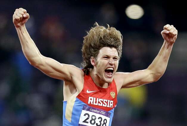 Russia's Ivan Ukhov reacts to his gold medal win in the men's high jump during the athletics in the Olympic Stadium at the 2012 Summer Olympics, London, Tuesday, Aug. 7, 2012. (AP Photo/Sergey Ponomarev) Photo: Sergey Ponomarev, Associated Press