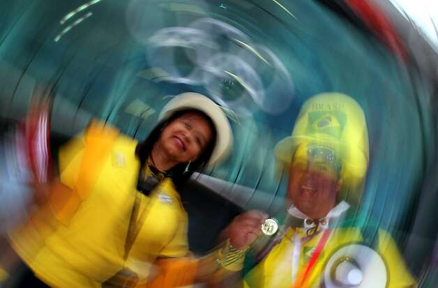 MANCHESTER, ENGLAND - AUGUST 07:  Brazilian fans enjoy themselves prior to the Men's Football Semi Final match between Korea and Brazil, on Day 11 of the London 2012 Olympic Games at Old Trafford on August 7, 2012 in Manchester, England.  (Photo by Stanley Chou/Getty Images) Photo: Stanley Chou, Getty Images