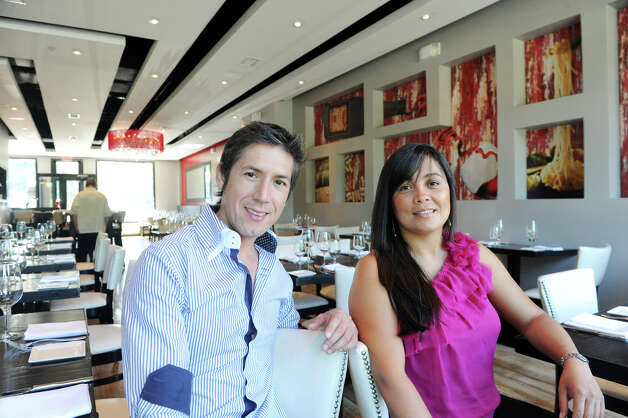 Mario Lopez and his wife, Cristina Ramirez, owners of Bianco Rosso Wine Bar and Restaurant in Wilton, Conn., July 10, 2012. Photo: Keelin Daly / Stamford Advocate