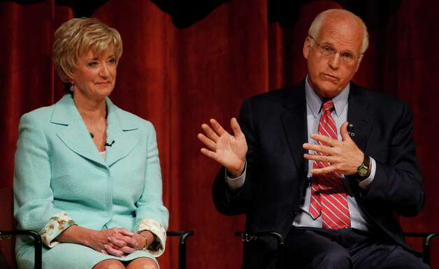 Former U.S. Rep Christopher Shays, R-Conn., right, gestures while seated next to 2010 U.S. Senate nominee Linda McMahon, during a debate for the seat being vacated by U.S Sen. Joe Lieberman, I-Conn., in Norwich, Conn., April 19, 2012. (AP Photo/Charles Krupa) Photo: Charles Krupa, Associated Press / AP