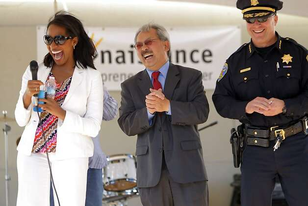 L-R, SupervisorMalia Cohen, Mayor Ed Lee and Police Chief Greg Suhr laugh as they address the crowd at Mendell Plaza in San Francisco, Calif., on Tuesday, August 7, 2012. The mayor and police chief made appearances in the Bayview Tuesday, August 7, 2012, on National Night Out and promoted new policies that that help neighborhoods be safer. Lee and Suhr said they will use real-time data to move officers where they are most needed and coordinate with local ministers to take tips that could help curb violence primarily in Visitacion Valley and other violent neighborhoods. Photo: Carlos Avila Gonzalez, The Chronicle
