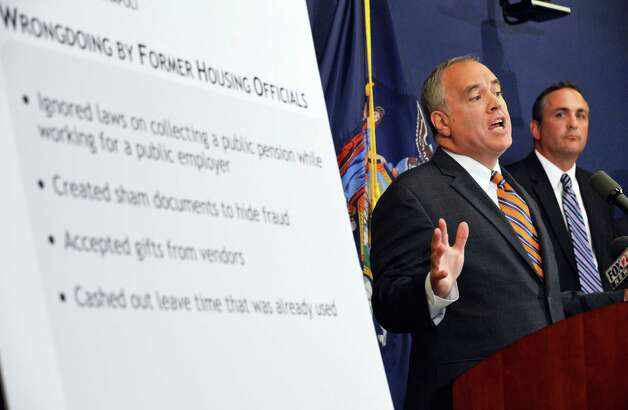 NYS Comptroller Thomas P. DiNapoli, left, and HUDIG Special Agent in Charge Cary Rubenstein announce financial abuses by former Troy Housing Authority officials during a news conference at the  Comptroller's office in Albany Tuesday Aug. 7, 2012.  (John Carl D'Annibale / Times Union) Photo: John Carl D'Annibale / 00018750A