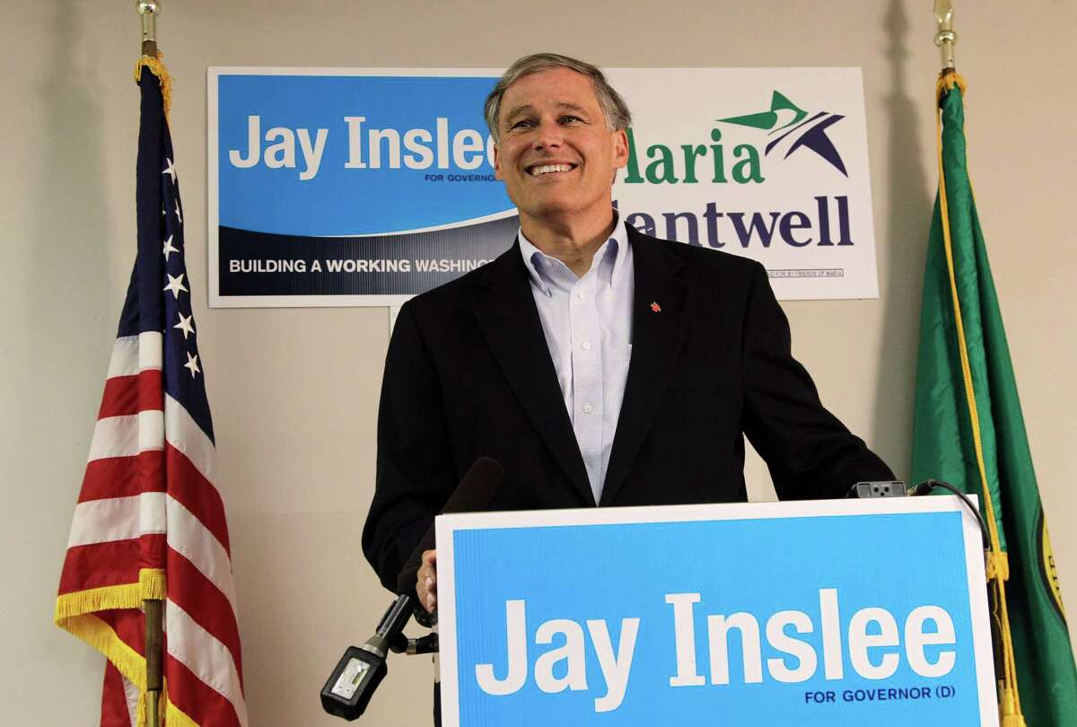 Jay Inslee, Democratic candidate for Washington state governor, talks to reporters, Tuesday, Aug. 7, 2012, on Washington's primary election day, at his headquarters in Seattle.
