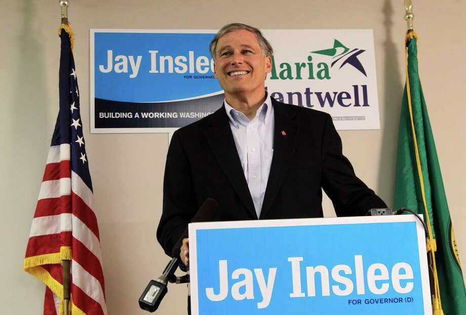 Jay Inslee, Democratic candidate for Washington state governor, talks to reporters, Tuesday, Aug. 7, 2012, on Washington's primary election day, at his headquarters in Seattle. Photo: AP