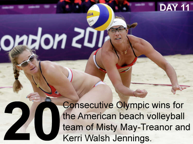 The United States's Misty May Treanor, right, dives over her teammate Kerri Walsh Jennings during