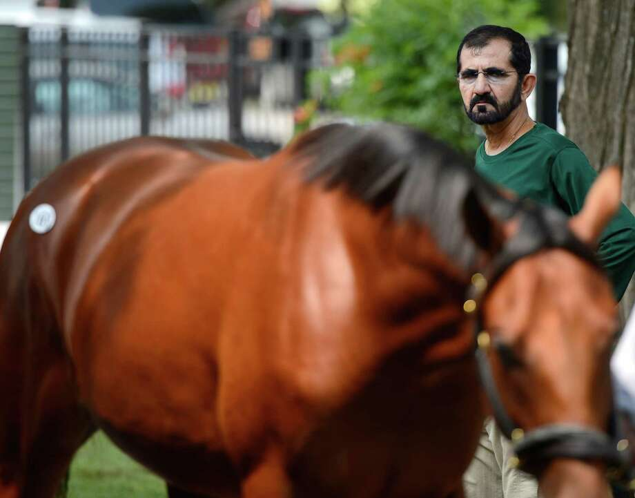 His Highness Sheikh Mohammed bin Rashid Al Maktoum,  inspects, yearlings at the Fasig Tipton Sales grounds in Saratoga Springs, N.Y. August 5, 2012.  Two nights of yearling sales start tomorrow evening in Saratoga. Photo: Skip Dickstein, TIMES UNION