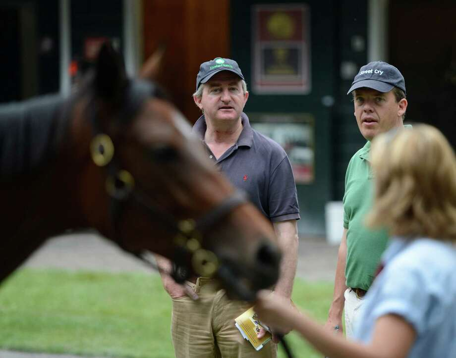John Fergeson, advisor to Sheik Mohammed looks over yearlings at the Fasig Tipton Sales grounds in Saratoga Springs, N.Y. August 5, 2012.  Two nights of yearling sales start tomorrow evening in Saratoga. Photo: Skip Dickstein, TIMES UNION