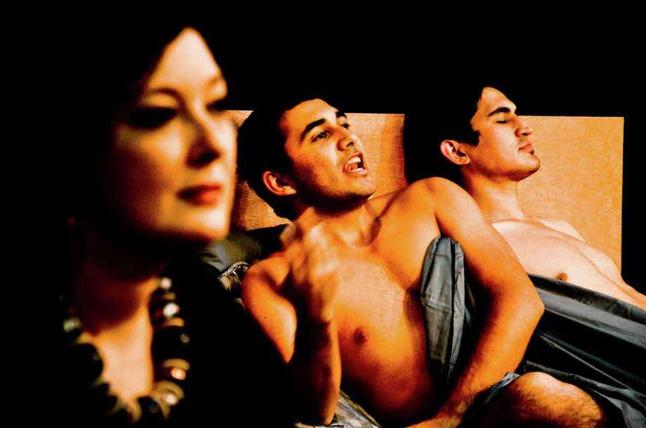 """The Cellar Theater staging of """"The Little Dog Laughed"""" includes, from left, Emily Spicer, Aaron Aguilar and Travis Trevino. Photo: Courtesy Siggi Ragnar"""