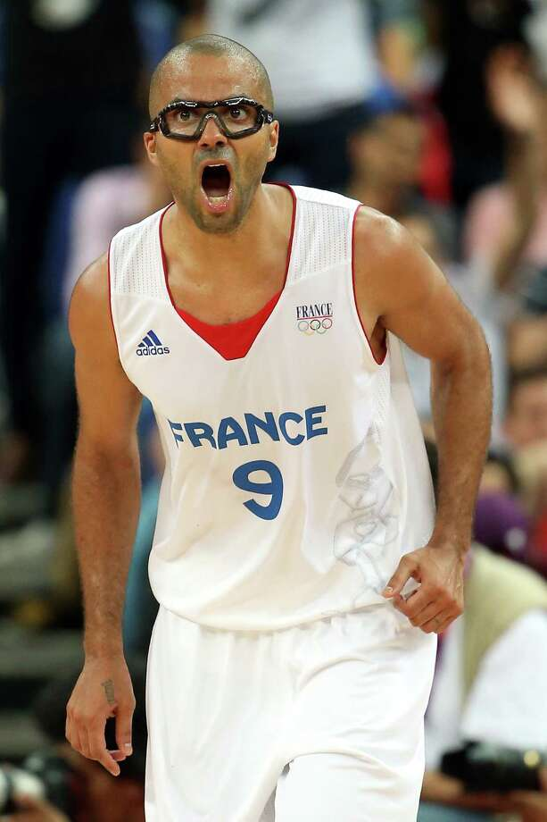 LONDON, ENGLAND - AUGUST 08:  Tony Parker #9 of France reacts in the second half while taking on Spain during the Men's Basketball quaterfinal game on Day 12 of the London 2012 Olympic Games at North Greenwich Arena on August 8, 2012 in London, England. Photo: Christian Petersen, Getty Images / 2012 Getty Images