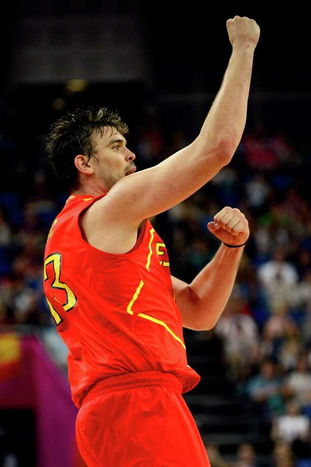 LONDON, ENGLAND - AUGUST 08:  Marc Gasol #13 of Spain reacts in the second half while taking on France during the Men's Basketball quaterfinal game on Day 12 of the London 2012 Olympic Games at North Greenwich Arena on August 8, 2012 in London, England. Photo: Ronald Martinez, Getty Images / 2012 Getty Images