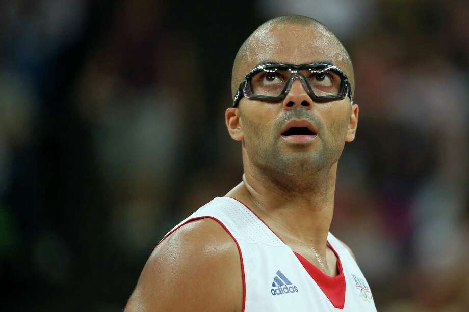LONDON, ENGLAND - AUGUST 08:  Tony Parker #9 of France looks on while taking on Spain during the Men's Basketball quaterfinal game on Day 12 of the London 2012 Olympic Games at North Greenwich Arena on August 8, 2012 in London, England. Photo: Christian Petersen, Getty Images / 2012 Getty Images