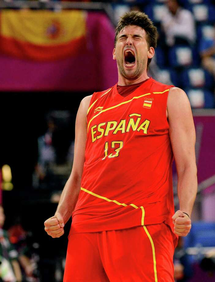 LONDON, ENGLAND - AUGUST 08:  Marc Gasol #13 of Spain reacts late in the fourth quarter against France during the Men's Basketball quaterfinal game on Day 12 of the London 2012 Olympic Games at North Greenwich Arena on August 8, 2012 in London, England. Photo: Ronald Martinez, Getty Images / 2012 Getty Images