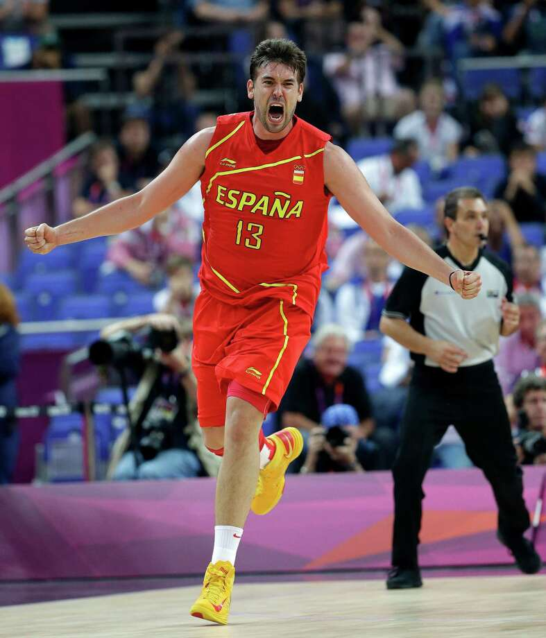 Spain's Marc Gasol celebrates after scoring against France in a quarterfinal men's basketball game at the 2012 Summer Olympics, Wednesday, Aug. 8, 2012, in London. (AP Photo/Eric Gay) Photo: Eric Gay, Associated Press / AP
