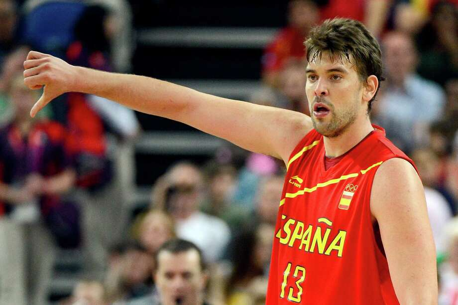 LONDON, ENGLAND - AUGUST 08:  Marc Gasol #13 of Spain reacts while taking on France during the Men's Basketball quaterfinal game on Day 12 of the London 2012 Olympic Games at North Greenwich Arena on August 8, 2012 in London, England. Photo: Ronald Martinez, Getty Images / 2012 Getty Images