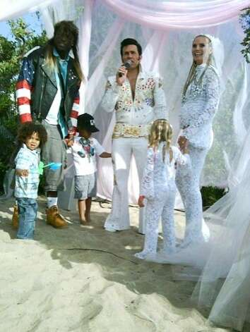 "Before their split, Heidi Klum and Seal had a tradition of renewing their wedding vows every year. In 2009, the couple's ""white trash"" event was held in sunny Malibu, California. Heidi rocked cornrows, while Seal donned a leather Americana jacket and mullet wig. Photo: Splash News"