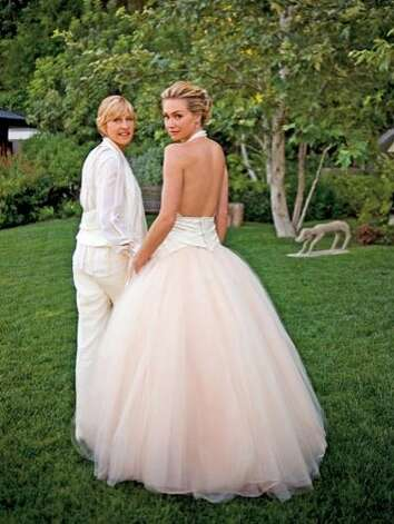 In 2008, Ellen Degeneres and Portia de Rossi took their relationship to the next level by marrying at their Los Angeles home in a backyard ceremony. Both brides wore Zac Posen for their big day. Photo: Getty Images