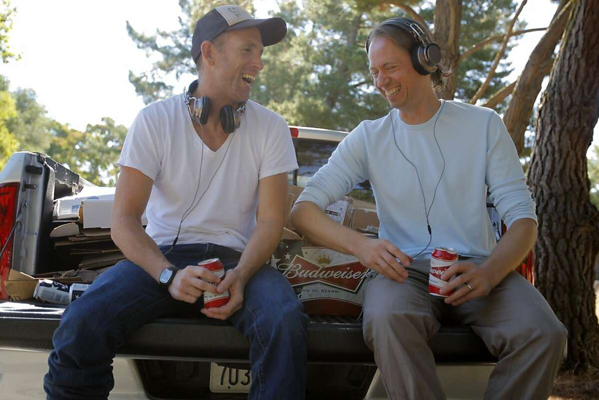 CEO Tim Hickman (left) and Designer David Adam (right) are seen wearing their new line of headphones aimed at rock/country music listeners at the California Headphone Headquarters in Danville, Calif. on Tuesday, August 7, 2012.