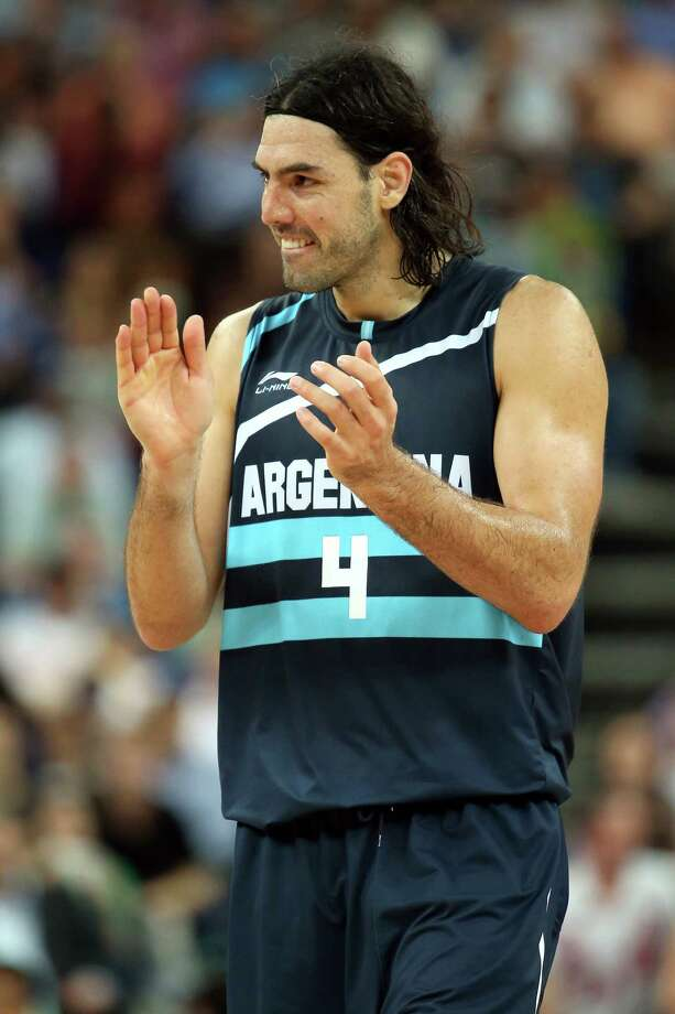 LONDON, ENGLAND - AUGUST 08:  Luis Scola #4 of Argentina celebrates late in the fourth quarter before Argentina's 82-77 victory against Brazil during the Men's Basketball quaterfinal game on Day 12 of the London 2012 Olympic Games at North Greenwich Arena on August 8, 2012 in London, England. Photo: Christian Petersen, Getty Images / 2012 Getty Images
