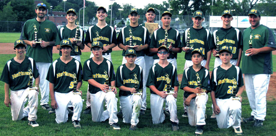 THe New Milford Renegades, New Milford Youth Baseball/Softball's 13U Babe Ruth travel baseball team, captured the District 4 and state Babe Ruth tournament titles in July an dlast week made a strong run at New England regional laurels. Combining their talents were, from left to right, front row, Paul Dobies, Tim Gesualdi, Brendan Profita, Owen Swanson, Max Vaughey, Robert Mosso and Payton Meyer; back row, coach John Meyer, Reese Zimmerman, Matt Ryan, Chris Ryan, head coach Joe Vaughey, Tyler Hansen, Riley Zimmerman, Taylor Hull, and coach Carl Profita.  Courtesy of Joe Vaughey Photo: Contributed Photo