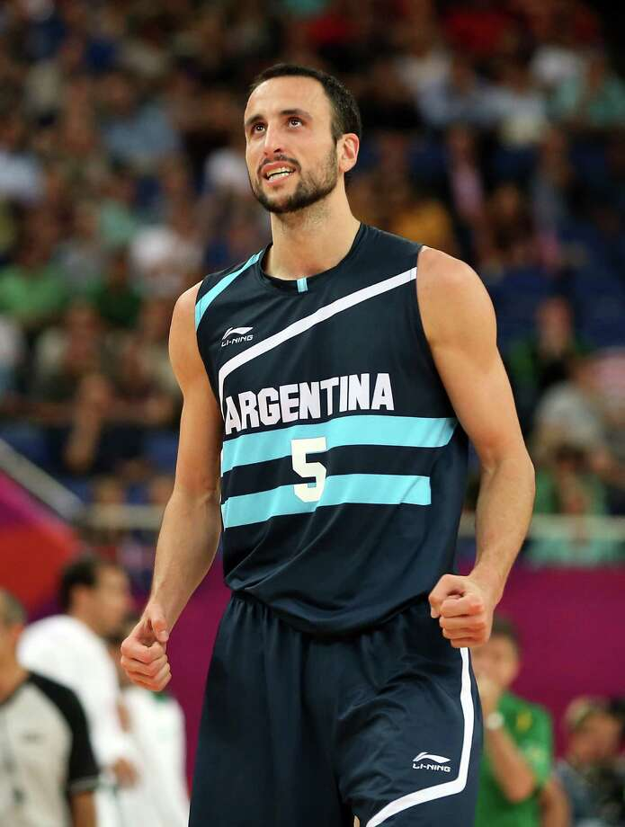 LONDON, ENGLAND - AUGUST 08:  Manu Ginobili #5 of Argentina reacts in the second half while taking on Brazil during the Men's Basketball quaterfinal game on Day 12 of the London 2012 Olympic Games at North Greenwich Arena on August 8, 2012 in London, England. Photo: Christian Petersen, Getty Images / 2012 Getty Images