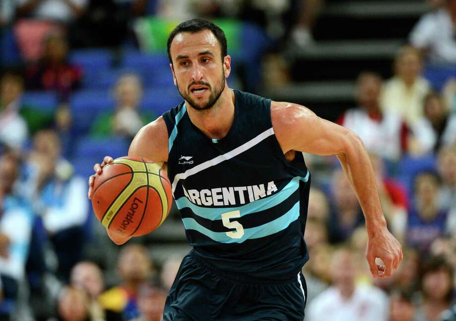 LONDON, ENGLAND - AUGUST 08:  Manu Ginobili #5 of Argentina moves the ball in the first half while taking on Brazil during the Men's Basketball quaterfinal game on Day 12 of the London 2012 Olympic Games at North Greenwich Arena on August 8, 2012 in London, England. Photo: Ronald Martinez, Getty Images / 2012 Getty Images