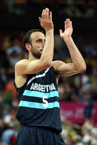 LONDON, ENGLAND - AUGUST 08:  Manu Ginobili #5 of Argentina celebrates Argentina's 82-77 victory against Brazil during the Men's Basketball quaterfinal game on Day 12 of the London 2012 Olympic Games at North Greenwich Arena on August 8, 2012 in London, England. Photo: Christian Petersen, Getty Images / 2012 Getty Images