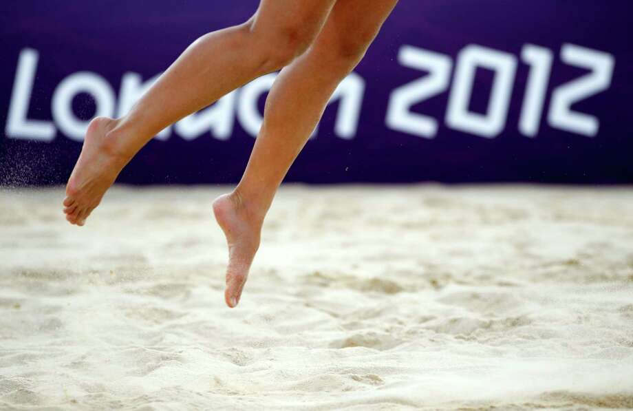 LONDON, ENGLAND - AUGUST 08:  Action in the Women's Beach Volleyball on Day 12 of the London 2012 Olympic Games at the Horse Guard's Parade on August 8, 2012 in London, England. Photo: Jamie Squire, Getty Images / 2012 Getty Images
