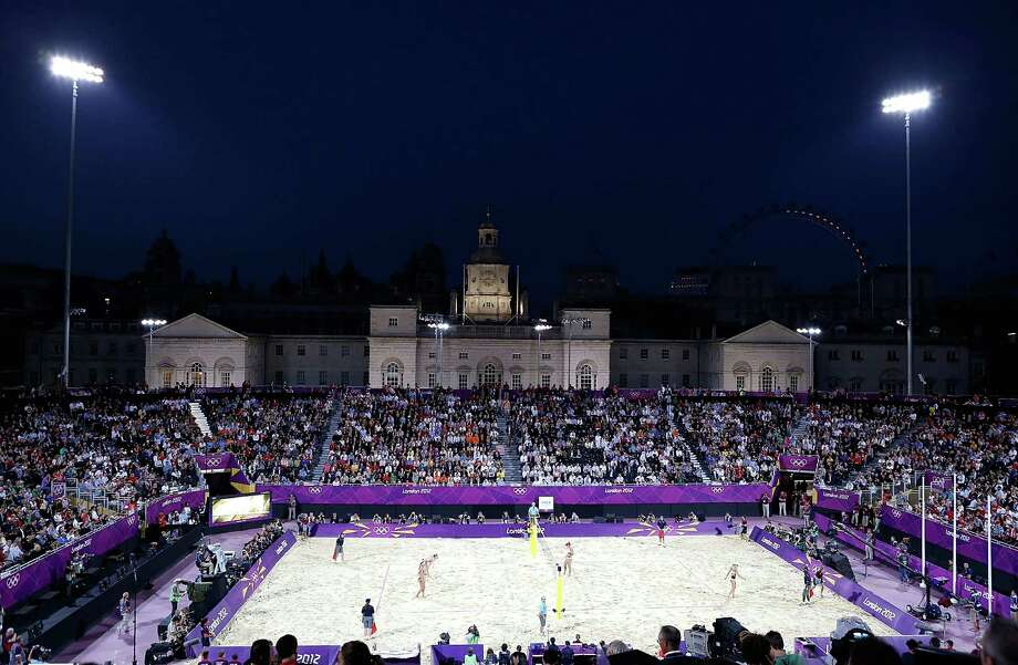 LONDON, ENGLAND - AUGUST 08:  A general view during the Women's Beach Volleyball Gold medal match on Day 12 of the London 2012 Olympic Games at the Horse Guard's Parade on August 8, 2012 in London, England. Photo: Jamie Squire, Getty Images / 2012 Getty Images