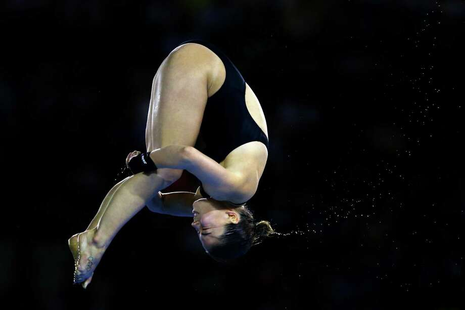LONDON, ENGLAND - AUGUST 08:  Roseline Filion of Canada competes in the Women's 10m Platform Diving Preliminary on Day 12 of the London 2012 Olympic Games at the Aquatics Centre on August 8, 2012 in London, England. Photo: Al Bello, Getty Images / 2012 Getty Images