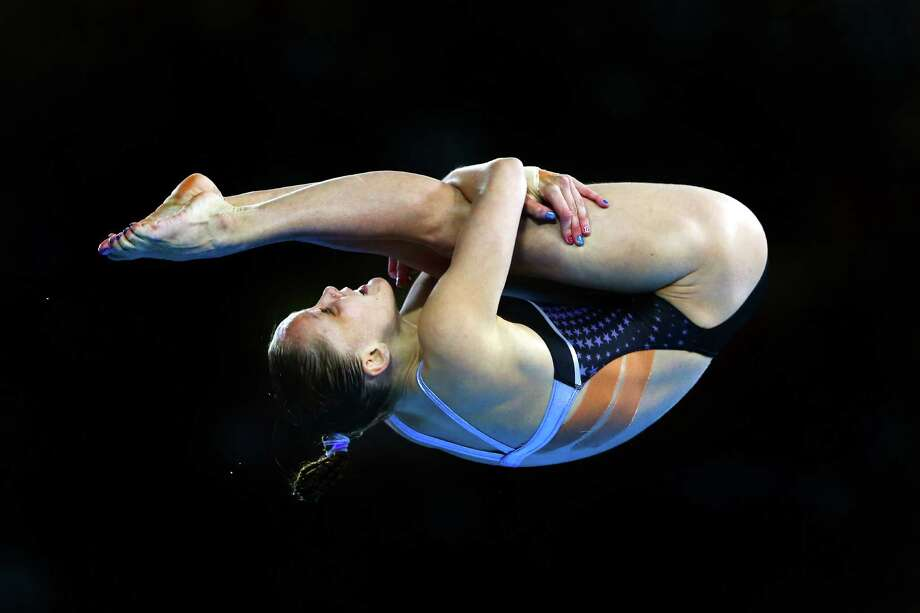LONDON, ENGLAND - AUGUST 08:  Katie Bell of the United States competes in the Women's 10m Platform Diving Preliminary on Day 12 of the London 2012 Olympic Games at the Aquatics Centre on August 8, 2012 in London, England. Photo: Al Bello, Getty Images / 2012 Getty Images