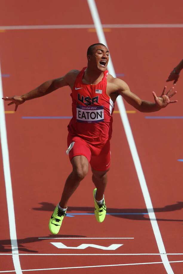 LONDON, ENGLAND - AUGUST 08:  Ashton Eaton of the United States competes in the Men's Decathlon 100m Heats on Day 12 of the London 2012 Olympic Games at Olympic Stadium on August 8, 2012 in London, England. Photo: Alexander Hassenstein, Getty Images / 2012 Getty Images