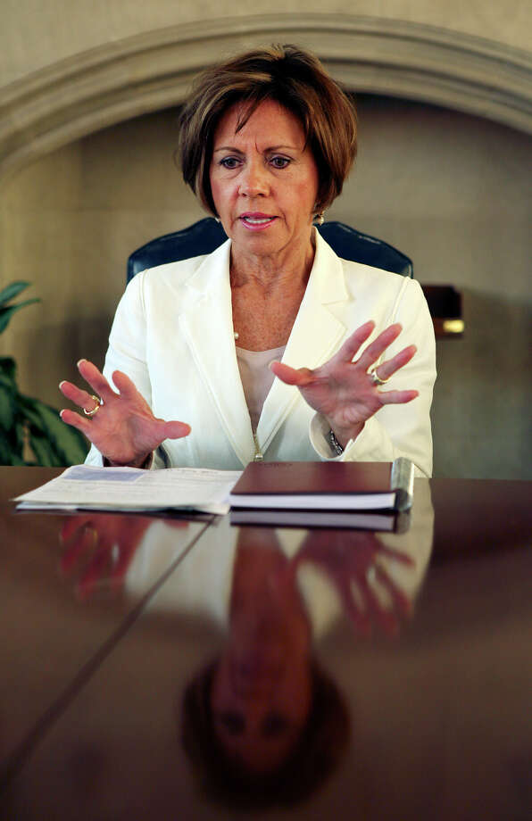 San Antonio City Manager Sheryl Sculley talks during a San Antonio Express-News editorial board meeting in San Antonio, Texas on Wednesday, August 8, 2012. Photo: Kevin Martin, San Antonio Express-News / © 2012 San Antonio Express-News