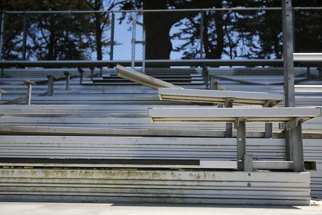 Aluminum bleacher seats from soccer fields and football bleachers both are targets of metal thieves and vandals. Photo: Megan Farmer, The Chronicle