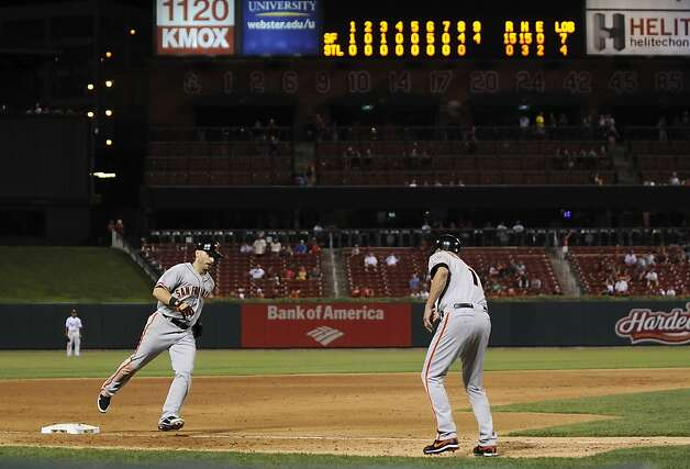 San Francisco Giants' Marco Scutaro rounds third and is congratulated by third base coach Tim Flannery after hitting a grand slam during the ninth inning of a baseball game against the St. Louis Cardinals on Wednesday, Aug. 8, 2012, in St. Louis. The Giants won 15-0. (AP Photo/Jeff Curry) Photo: Jeff Curry, Associated Press