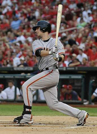San Francisco Giants' Buster Posey watches his single during the first inning of a baseball game against the St. Louis Cardinals on Wednesday, Aug. 8, 2012, in St. Louis. The Giants won 15-0. (AP Photo/Jeff Curry) Photo: Jeff Curry, Associated Press