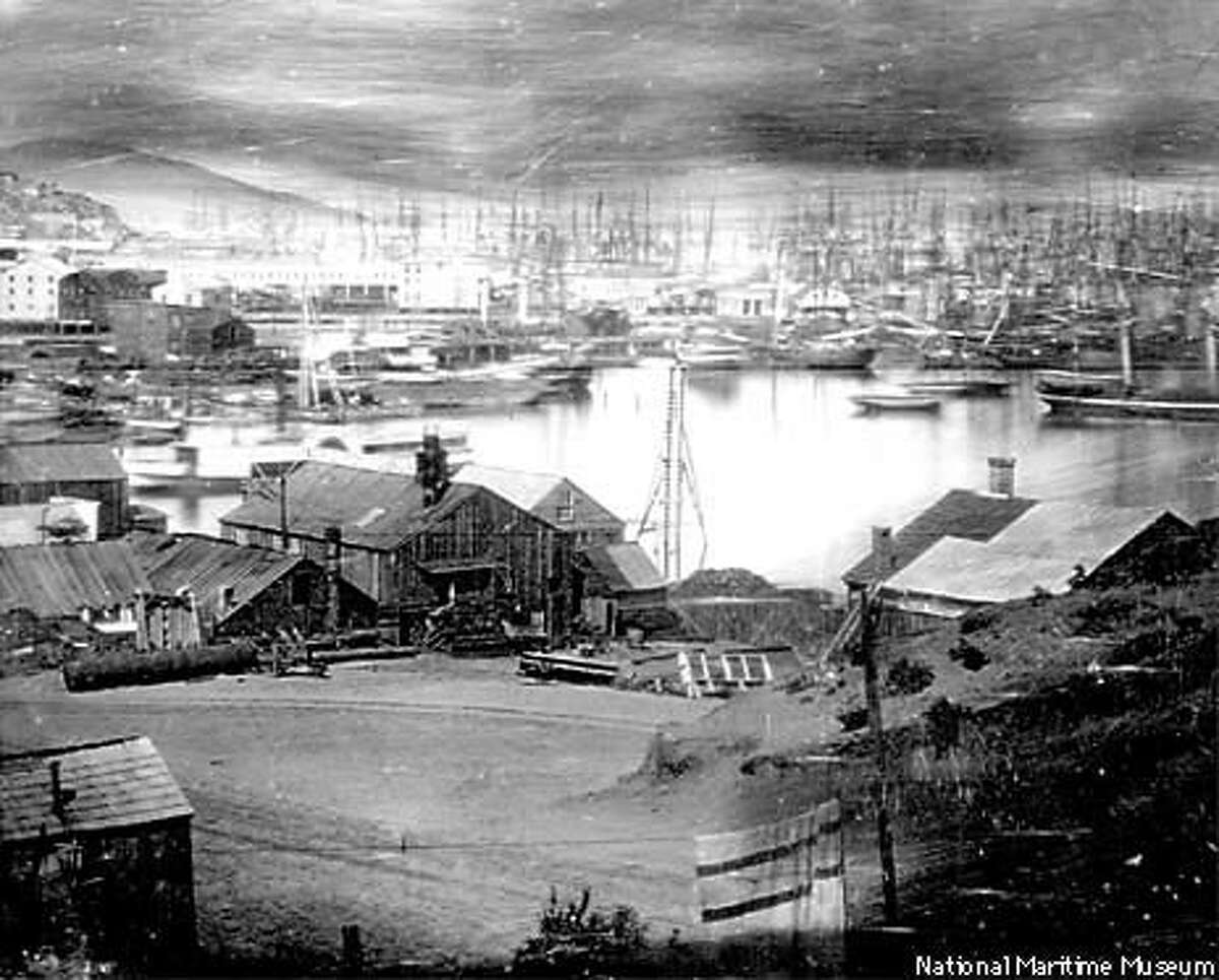 In 1851, San Francisco Bay, seen here from First Street, then on the waterfront, was filled with ships abandoned by those who had headed for the gold fields. Photo by San Francisco MAritime Museum National Historical Park.