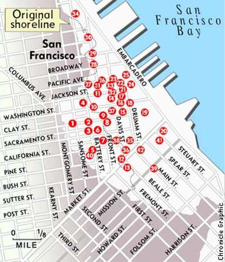 This map shows the location of San Francisco's Gold Rush ship graves.