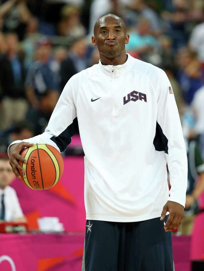 LONDON, ENGLAND - AUGUST 08:  Kobe Bryant #10 of United States warms up before taking on Australia during the Men's Basketball quaterfinal game on Day 12 of the London 2012 Olympic Games at North Greenwich Arena on August 8, 2012 in London, England. Photo: Christian Petersen, Getty Images / 2012 Getty Images