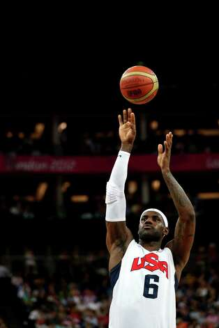 LONDON, ENGLAND - AUGUST 08:  LeBron James #6 of United States shoots a free throw while taking on Australia in the first half during the Men's Basketball quaterfinal game on Day 12 of the London 2012 Olympic Games at North Greenwich Arena on August 8, 2012 in London, England. Photo: Christian Petersen, Getty Images / 2012 Getty Images
