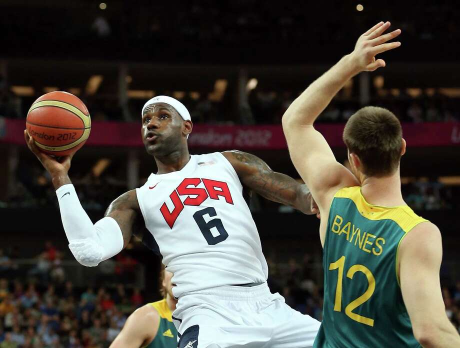 LONDON, ENGLAND - AUGUST 08:  LeBron James #6 of United States goes up for a shot against Aron Baynes #12 of Australia in the first half during the Men's Basketball quaterfinal game on Day 12 of the London 2012 Olympic Games at North Greenwich Arena on August 8, 2012 in London, England. Photo: Christian Petersen, Getty Images / 2012 Getty Images