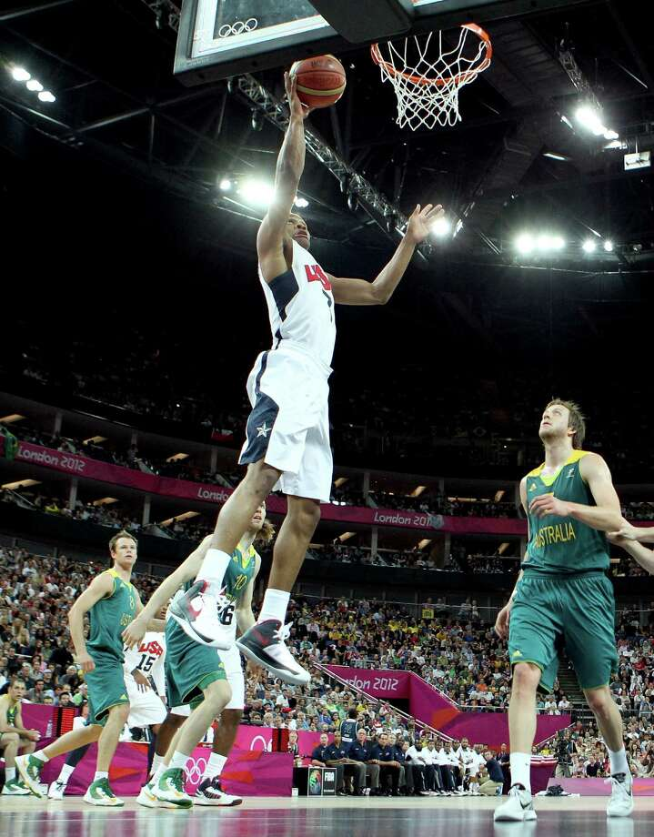 LONDON, ENGLAND - AUGUST 08:  Russell Westbrook #7 of United States lays the ball up against Australia during the Men's Basketball quaterfinal game on Day 12 of the London 2012 Olympic Games at North Greenwich Arena on August 8, 2012 in London, England. Photo: Christian Petersen, Getty Images / 2012 Getty Images