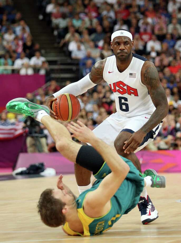 LONDON, ENGLAND - AUGUST 08:  LeBron James #6 of United States moves the ball against Mark Worthington #11 of Australia in the first quarter during the Men's Basketball quaterfinal game on Day 12 of the London 2012 Olympic Games at North Greenwich Arena on August 8, 2012 in London, England. Photo: Christian Petersen, Getty Images / 2012 Getty Images