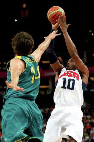 LONDON, ENGLAND - AUGUST 08:  Kobe Bryant #10 of United States shoots over Matt Nielsen #14 of Australia in the first quarter during the Men's Basketball quaterfinal game on Day 12 of the London 2012 Olympic Games at North Greenwich Arena on August 8, 2012 in London, England. Photo: Christian Petersen, Getty Images / 2012 Getty Images