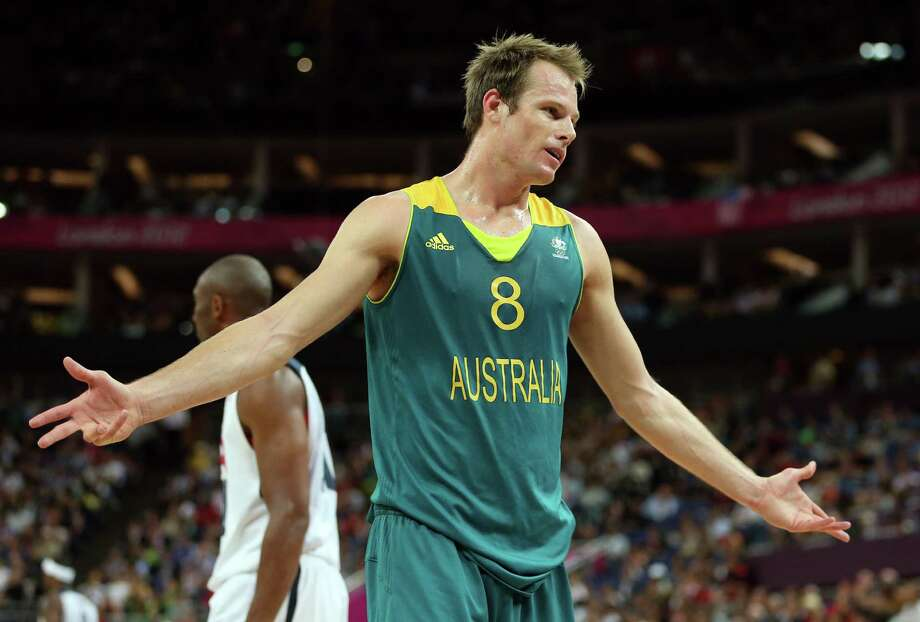 LONDON, ENGLAND - AUGUST 08:  Brad Newley #8 of Australia reacts while taking on the United States during the Men's Basketball quaterfinal game on Day 12 of the London 2012 Olympic Games at North Greenwich Arena on August 8, 2012 in London, England. Photo: Christian Petersen, Getty Images / 2012 Getty Images