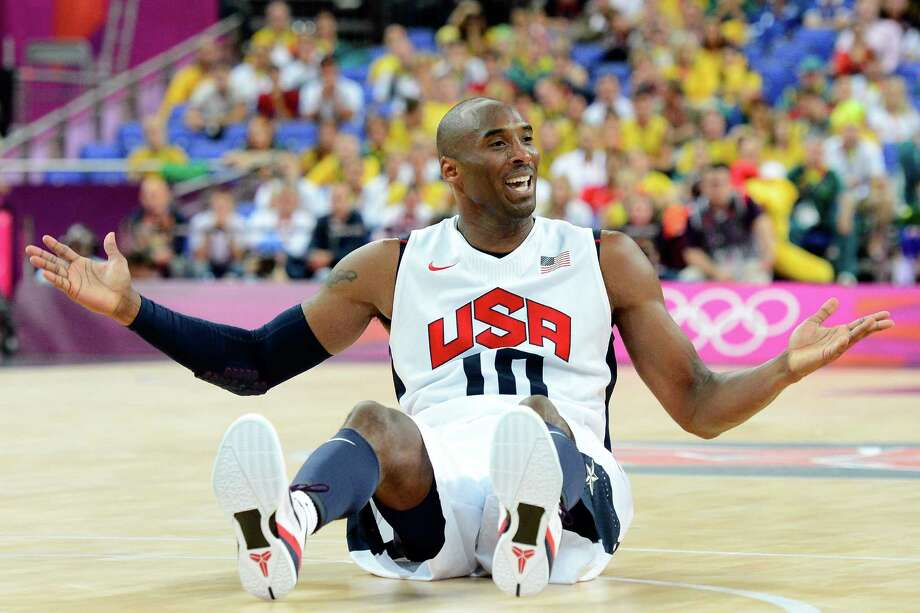 LONDON, ENGLAND - AUGUST 08:  Kobe Bryant #10 of United States reacts while taking on Australia in the third quarter during the Men's Basketball quaterfinal game on Day 12 of the London 2012 Olympic Games at North Greenwich Arena on August 8, 2012 in London, England. Photo: Ronald Martinez, Getty Images / 2012 Getty Images
