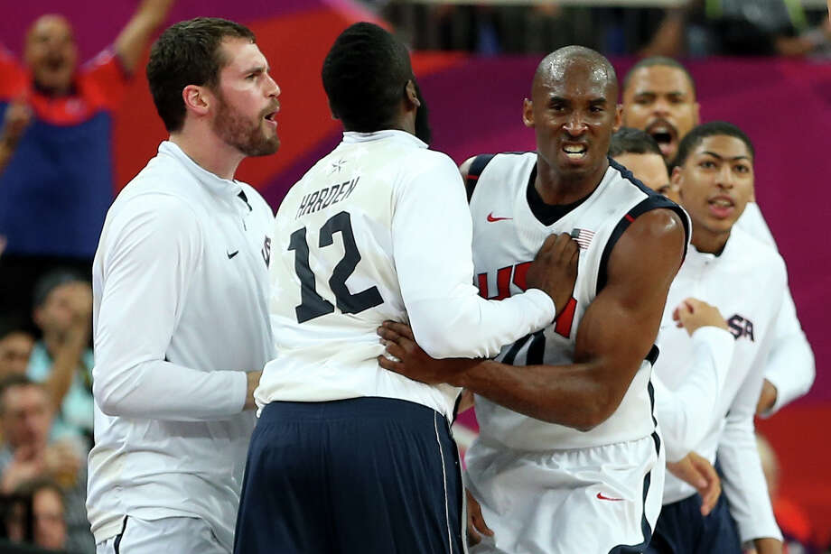 LONDON, ENGLAND - AUGUST 08:  Kobe Bryant #10 of United States reacts with James Harden #12 after making a three-pointer in the third quarter while taking on Australia during the Men's Basketball quaterfinal game on Day 12 of the London 2012 Olympic Games at North Greenwich Arena on August 8, 2012 in London, England. Photo: Christian Petersen, Getty Images / 2012 Getty Images