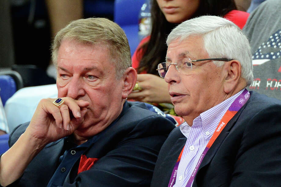 LONDON, ENGLAND - AUGUST 08:  United States Men's Basketball Managing Director Jerry Colangelo and NBA Commissioner David Stern watch the United States take on Australia during the Men's Basketball quaterfinal game on Day 12 of the London 2012 Olympic Games at North Greenwich Arena on August 8, 2012 in London, England. Photo: Ronald Martinez, Getty Images / 2012 Getty Images
