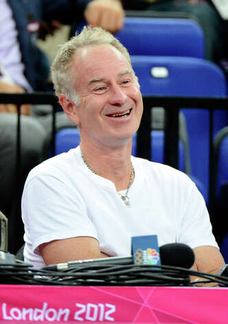 LONDON, ENGLAND - AUGUST 08:  Former professional tennis player John McEnroe sits courtside before the United States takes on Australia in the Men's Basketball quaterfinal game on Day 12 of the London 2012 Olympic Games at North Greenwich Arena on August 8, 2012 in London, England. Photo: Ronald Martinez, Getty Images / 2012 Getty Images