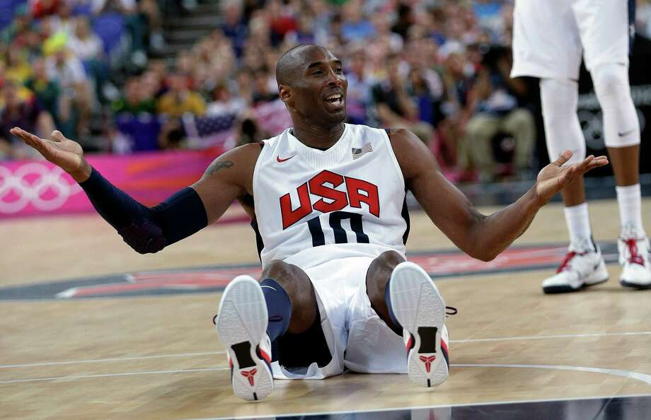 USA's Kobe Bryant reacts after he was called for a foul during a quarterfinal men's basketball game against Australia at the 2012 Summer Olympics, Wednesday, Aug. 8, 2012, in London. (AP Photo/Eric Gay) Photo: Eric Gay, Associated Press / AP